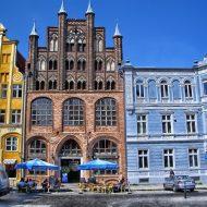 Bunte historische Gebäude in Stralsund