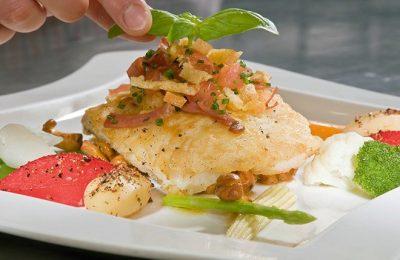 Gericht mit Fischfilet