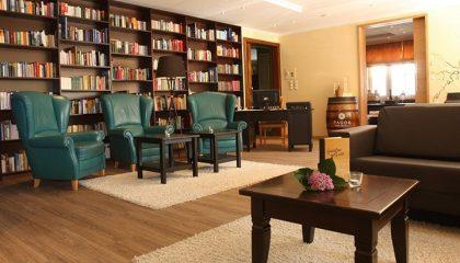 Innenbereich mit Sessel vor Bücherregal