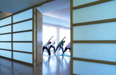 Eine Gruppe Menschen macht gemeinsam Yoga
