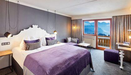 Bett im Falkenstein Panorama Doppelzimmer