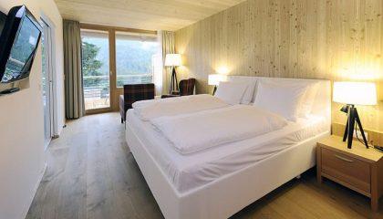 Bett im Panorama Doppelzimmer