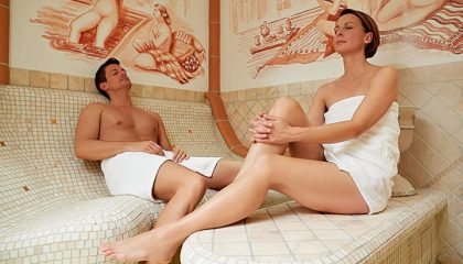 Mann und Frau im Laconium