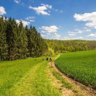 Menschen spazieren durch Wiesen und Wälder der Rhön
