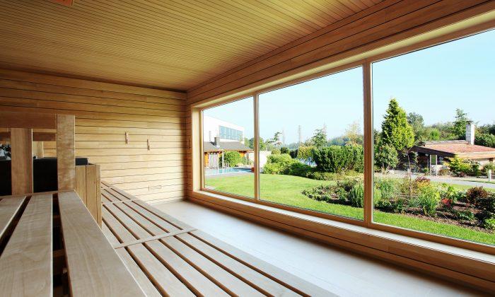 Sauna mit Ausblick auf Natur