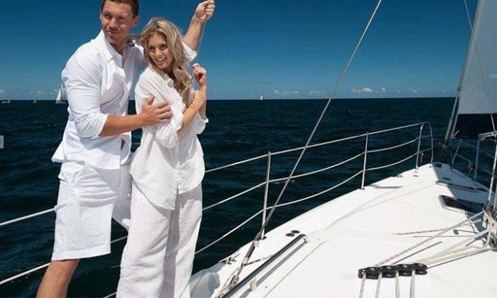 Paar auf Yacht am Bodensee
