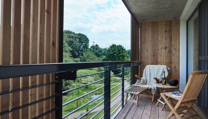 Blick vom Balkon des Schlafzimmer Landstils