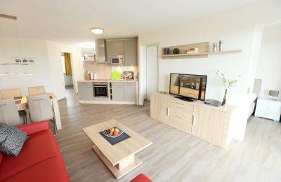 Wohnraum in der Ferienwohnung mit Elbblick