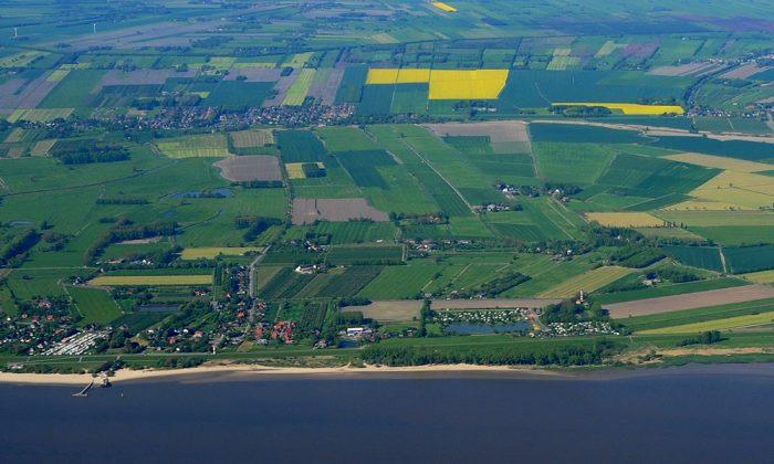 Luftaufnahme von der Elbinsel